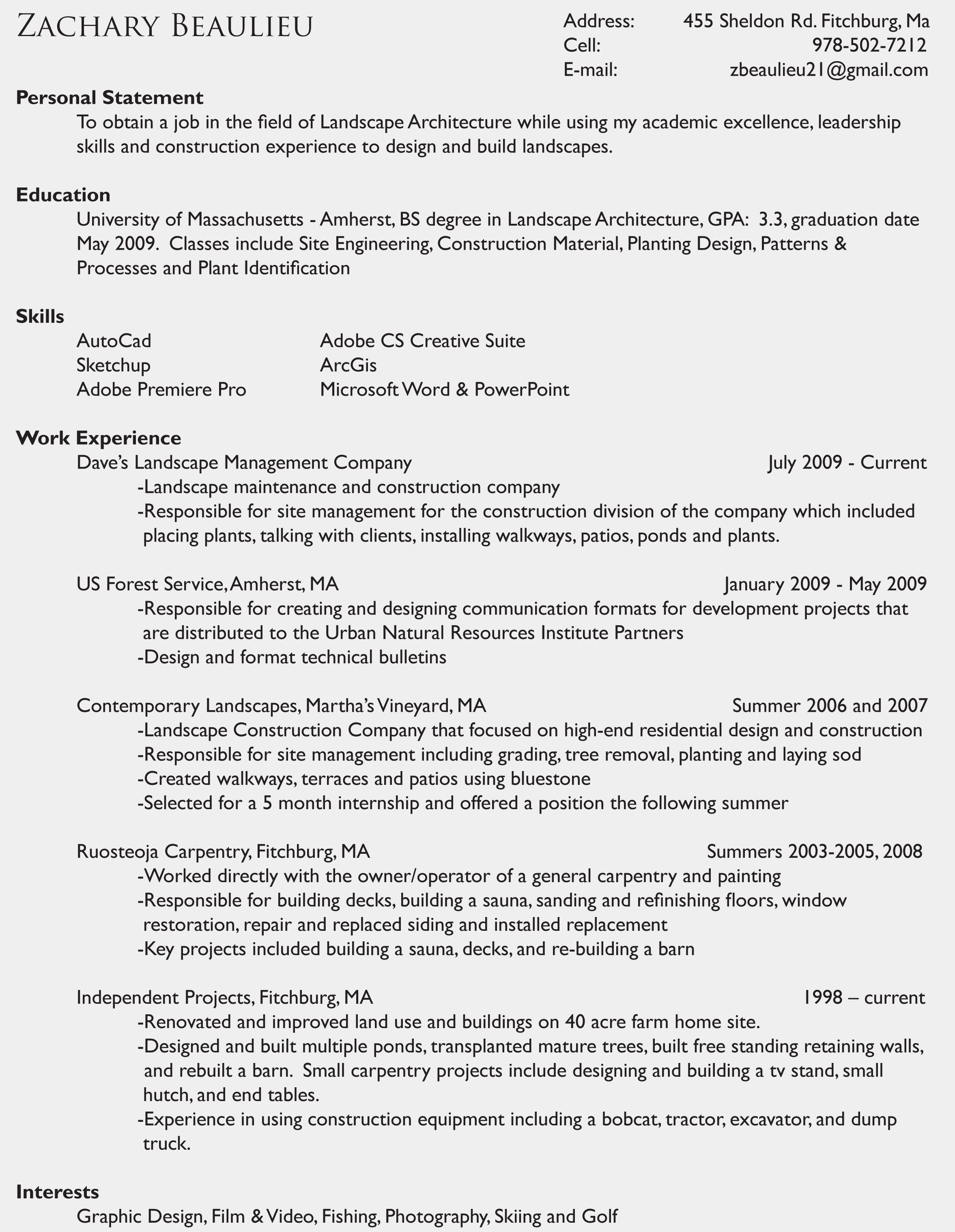 Residential construction company owner sample resume