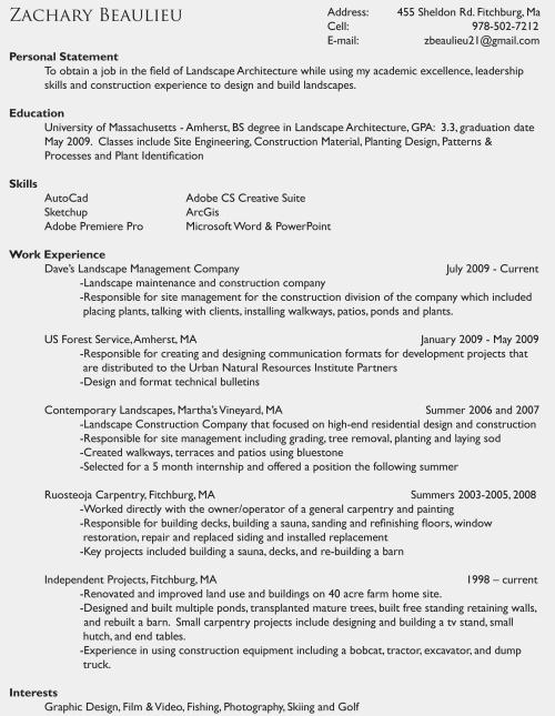 landscape resume cover letter samples